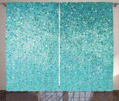 Mavi Mozaik Desenli Fon Perde Şık Tasarım Çeyizlik