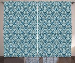 Mavi Çiçek Desenli Fon Perde Şık Tasarım Trend