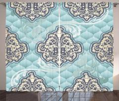 Rokoko Duvar Kâğıdı Fon Perde Mavi Fonlu