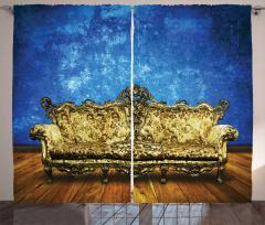 Antik Oda Temalı Fon Perde Mavi Altın Sarısı