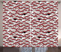 Kırmızı Mantar Desenli Fon Perde Şık Tasarım