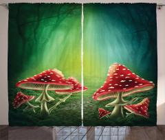 Kırmızı Mantar ve Orman Fon Perde