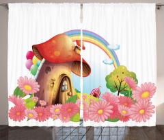 Mantar Ev ve Gökkuşağı Fon Perde Çiçekli