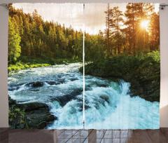 Nehir ve Orman Temalı Fon Perde Yeşil Ağaç