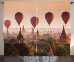 Tapınak ve Balon Temalı Fon Perde Gökyüzü Turuncu