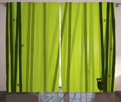 Bambu Desenli Fon Perde Kedili Çizgili Yeşil