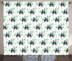 Sevimli Panda ve Bambu Fon Perde Trend