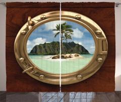 Issız Ada Temalı Fon Perde Gemi Deniz Palmiye