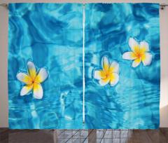 Sudaki Çiçek Temalı Fon Perde Doğada Huzur Mavi