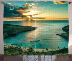 Doğada Huzur Temalı Fon Perde Gün Doğumu Deniz