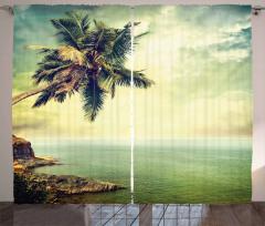 Ada Palmiye Manzaralı Fon Perde Nostaljik Deniz