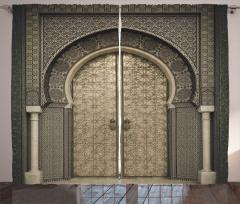 Oryantal Kapı Temalı Fon Perde Etnik Antik Şık