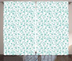 Mavi Çiçek Desenli Fon Perde Çeyizlik Şık Tasarım