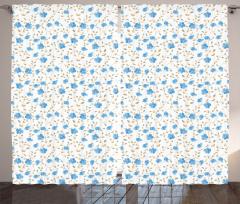 Mavi Çiçekli Fon Perde Bahar Temalı Çeyizlik Şık