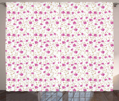 Pembe Çiçekli Fon Perde Romantik Çeyizlik Trend