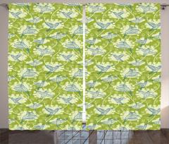 Ağaç ve Kuş Desenli Fon Perde Yeşil Mavi Trend