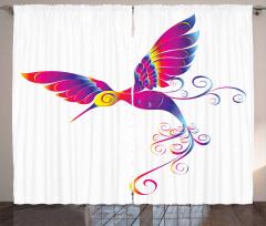 Rengarenk Kuş Desenli Fon Perde Çeyizlik Trend