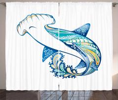 Köpek Balığı Desenli Fon Perde Mavi Deniz Temalı