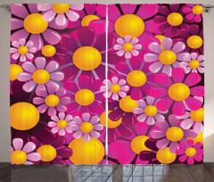 Pembe ve Sarı Çiçek Fon Perde Çeyizlik