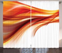 Kırmızı Dalga Desenli Fon Perde Beyaz Fon Modern