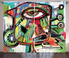 Sanat Eseri Temalı Fon Perde Rengarenk Şık Tasarım