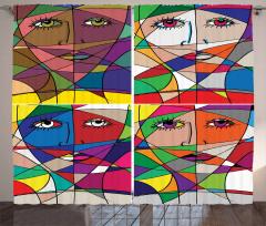 Kadın Yüzü Temalı Fon Perde Rengarenk Sanat Eseri