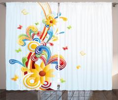 Rengarenk Çiçek Desenli Fon Perde Çeyizlik Trend