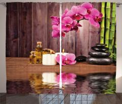 Sağlık Temalı Fon Perde Pembe Çiçek SPA Masaj