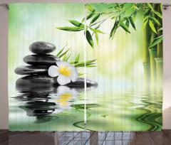 Masaj Severler İçin Fon Perde Çiçek Su Taş SPA