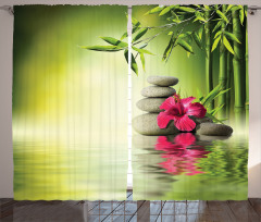 Sağlık Temalı Fon Perde Masaj Bambu Kırmızı Çiçek