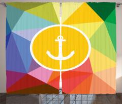 Rengarenk Çapa Desenli Fon Perde Deniz Temalı