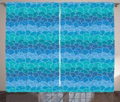 Mavi Dalgalar Desenli Fon Perde Deniz Temalı Şık