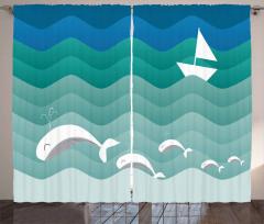 Dalga ve Balık Desenli Fon Perde Mavi Deniz Gemi