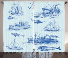Antik Denizcilik Temalı Fon Perde Balık Gemi Çapa