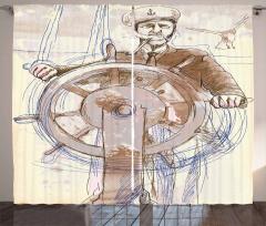 Denizci Temalı Fon Perde Elle Çizim Şık Tasarım