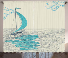 Yelkenli ve Deniz Fon Perde Elle Çizim Şık