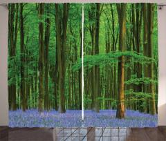 Orman ve Çiçekler Fon Perde Yeşil ve Mavi
