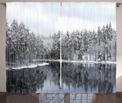 Karlı Ağaç Göl Temalı Fon Perde Kış ve Doğa