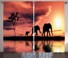 Gökyüzü Göl ve Filler Fon Perde Sanatsal