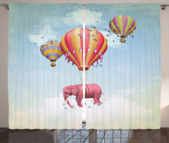 Rengarenk Balon ve Fil Fon Perde Fantastik