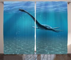 Büyük Deniz Dinozoru Fon Perde Mavi