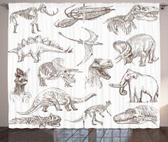 Kara Kalem Dinozorlar Fon Perde Beyaz Fonlu
