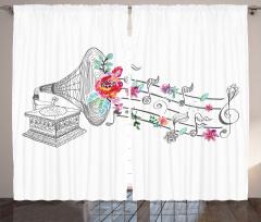 Gramofon Çiçek ve Nota Fon Perde Beyaz