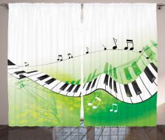Uçan Piyano ve Nota Fon Perde Yeşil Beyaz