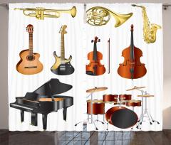 Klasik Müzik Desenli Fon Perde Beyaz Arka Planlı