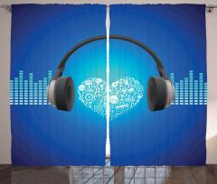 Müzik Severler İçin Fon Perde Mavi Arka Planlı