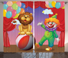 Palyaço Aslan ve Balon Fon Perde Rengarenk