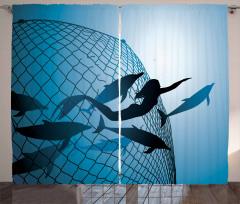 Yüzen Deniz Kızı Temalı Fon Perde Yunuslar Mavi