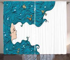 Mavi Saçlı Deniz Kızı Fon Perde Balık