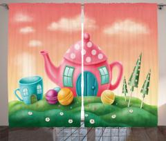 Masal Temalı Fon Perde Rengarenk Çaydanlık